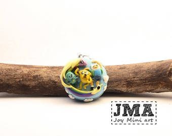 Adventure Time pendant/  hand sclupted polymer clay pendant/ Jake / Fin/ Lady Rainicorn/ Beemo/OOAK