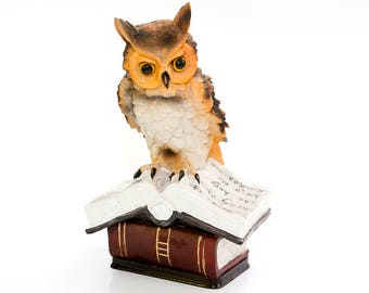 Owl Sculpture Ceramic Decor Owl Souvenir Wisdom Owl On The Books Home Decor  Statue Living Room