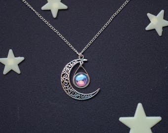 Moon necklace - Wanderlust present - Romantic Camping pendant - Forest Night jewelry -  Starry night charm - Travel gift - Christmas gift