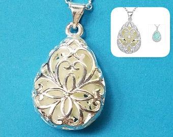 1, Glow in Dark Pendant, Luminous Pendant, Drop Pendant, Silver Jewelry, Filigree Pendant, Jewelry Pendant, Silver Glow Charm, Glowing, #24
