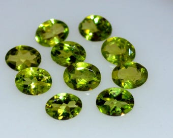 4x6  Natural peridot faceted oval gemstone-AAA quality