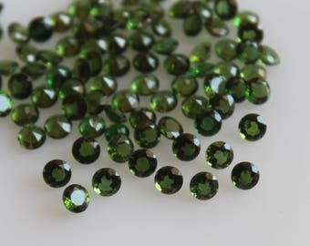3 mm AAA Green Tourmaline Round  Faceted - Top Grade Gemstone AAA Quality