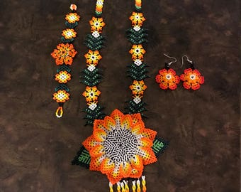 Huichol made** beaded hand made** necklace earing set** orange** white** mexican Culture**