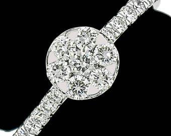 Stylish 14k White Gold Ring 0.63ct. Diamonds with IGI Certificate