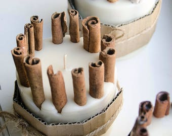 100% Soy Pillar Scented  Cinnamon Candle with Cinnamon Sticks