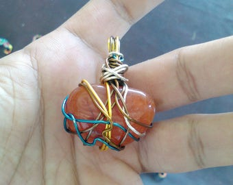 Wire Wrapped Carnelian Tumbled Healing Stone