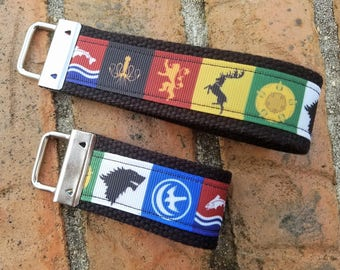 Game of Thrones, Wristlet Key Fob Key Chain, READY TO SHIP, Gifts Under 10, Ribbon Keychain, Ribbon Keyfob, Stocking Stuffer