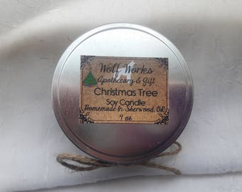 Christmas Tree scented natural soy wax 8 oz candle
