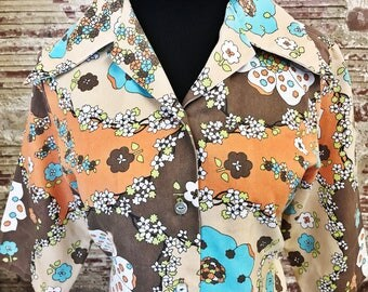 1970s Groovy Flower Power Button Up. 70s groovy blouse. Groovy Button Up