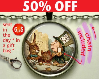 Mad Hatter's Tea Party pendant, Mad Hatter pendant Alice in Wonderland pendant Mad Hatter necklace key chain N998