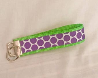Green and Purple Key Fob/Wristlet/Key Chain/Lanyard/accessories/key fob/keychain/key fob/gift for her/key lanyard/gift/polka dot key fob