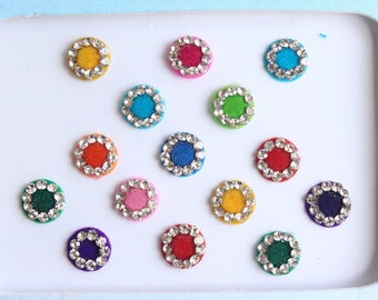 15 Round Jewels Wedding Bindis  ,Round Bindis,Velvet Colorful Bindis,Colorful Face Jewels Bindis,Bollywood Bindis,Self Adhesive Stickers