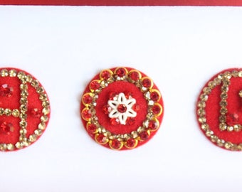 5 Extra Big Red Round Velvet Bollywood Bindis, Indian Velvet Colorful Bindis,Colorful Face Bindis,Bollywood Bindis,Self Adhesive Stickers