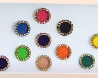 19 Bridal Round Bindis,Wedding Round Bindis,Velvet Multicolor Bindis,Colorful Face Bindis,Bollywood Bindis,Self Adhesive Stickers