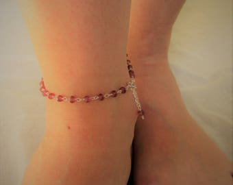 Chain anklet with Garnet gemstones and 925 sterling silver chain.