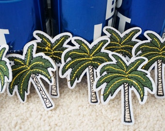 Coconut tree iron on patch, embroidered patch, plant patch, iron on hats/shoes/jeans/jackets, DIY