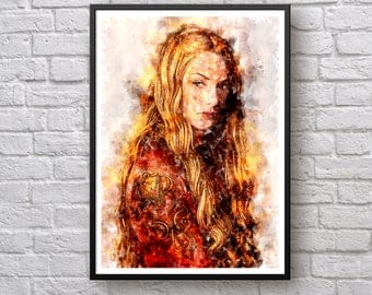 Game of Thrones Poster, Cersei Lannister Poster, Queen Cersei Lannister Westeros Print, Hear Me Roar, TV Show Watercolor Poster Art Print