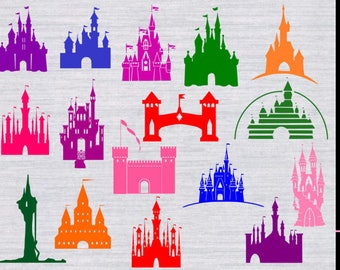 Castle clipart, Castle SVG, svg files, Castles svg, dxf, files for silhouette, files for cricut, Princess castles, disney world, disneyland