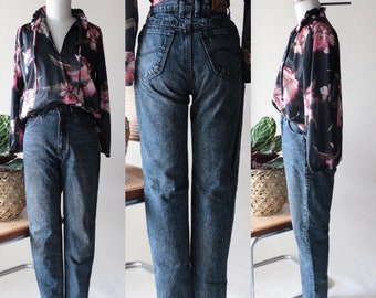 Vintage LEE High Waisted Mom Jeans, Dark Blue Black Denim, 80s