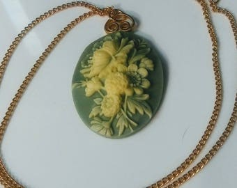Vintage Mint Green Floral Gold Pendant with Chain
