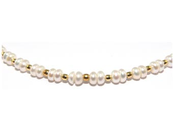 Chain necklace freshwater pearl necklace with Goldeneperlen