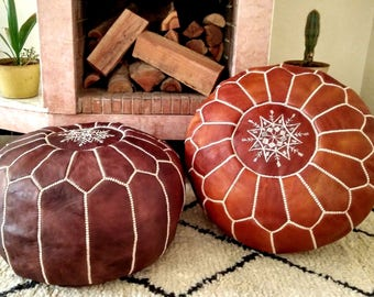 Leather Pouf Moroccan pouf Floor pouf  Leather Ottoman  Moroccan home decor Moroccan decor
