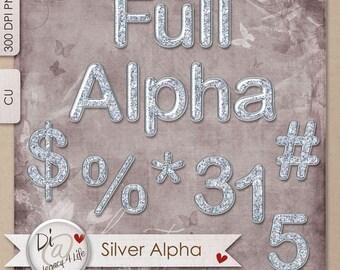 Digital Scrapbook Alpha, Silver Glitter, Commercial Use, Scrap for Hire,  Designer Stash, PNG Elements, Digital Scrapbook Full Alpha