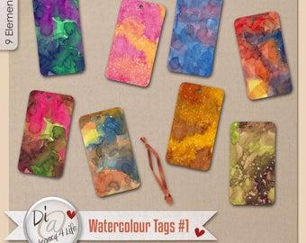Digital Scrapbook | Clipart | Commercial Use , Designer Watercolor Tags, PNG Elements, Digital Scrapbook Papers