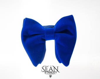 Royal Blue Velvet Big Bow Tie with Pocket Square