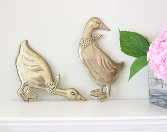 Vintage Brass Ready-to-Hang Ducks