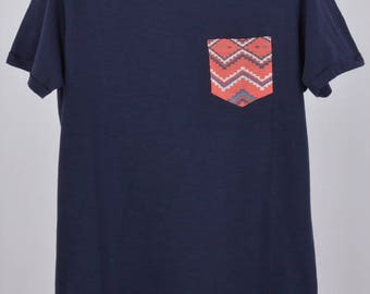 T-shirt with Pocket Mexican Blue Slim