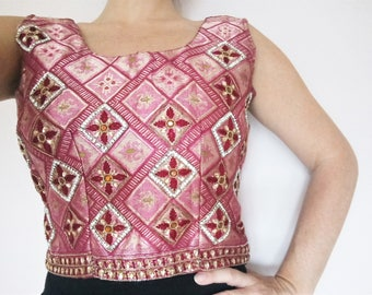 Beautiful dusky pink and rose gold sleeveless top with diamond pattern, embroidery and diamante beading detail