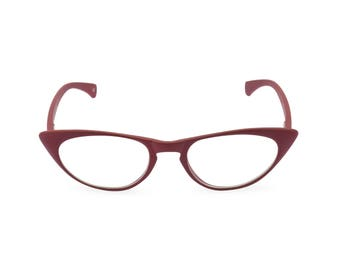 1950s 60s style Vamp Red CAT EYE Rxable frame or reading glasses +1.25 to +3.00 NEW made to original vintage design best seller 'Peggy''