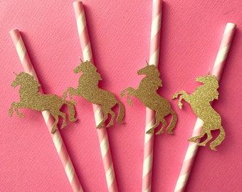 Unicorn straws, pink straws, unicorn party