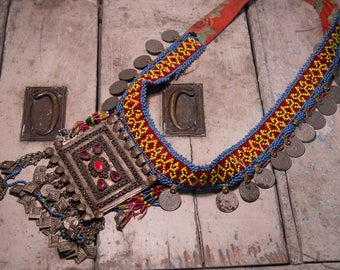 Kuchi necklace vintage antique coins and stones Afghan/cintura