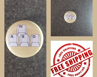 "1"" WASD Gaming Button Pin or Magnet, FREE SHIPPING & Coupon Codes"