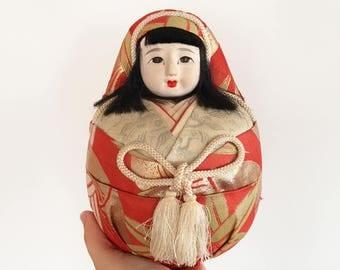 Large Vintage Hime Daruma Japanese Doll - Japan - wedding doll crepe silk - gofun kawaii Kokeshi round ball doll #0677