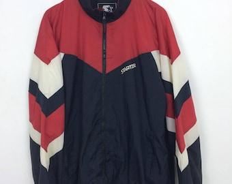 Vintage 90s Starter Striped Zipped Windbreaker Jacket Size XL Oversize