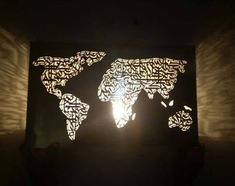 Map lampshade etsy stunning nickel silver world map wall lamp metal artworksconce light handmadearabic gumiabroncs Images