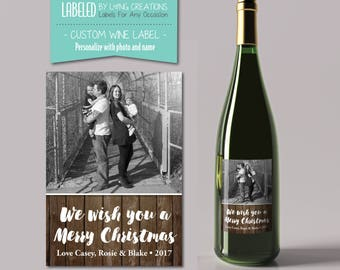 christmas / holiday wine label - christmas / holiday gift - photo labels - holiday label - custom wine label - personalized christmas wine