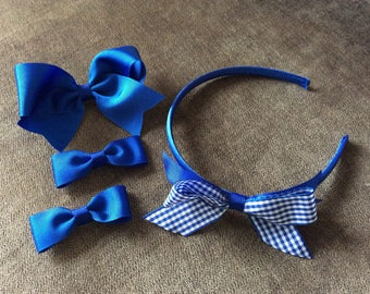 Handmade School hair accessory set. Royal blue.