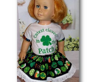 "Chatty Cathy size Doll Clothes. Cutest Clover in the Patch. Handmade St. Patrick's Day clothes fits 20"" tall dolls"