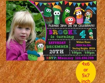 Veggie Tales Birthday Invitation, Veggie Tales Invitation, Viggie Tales Birthday, Veggie Tales Party, Veggie Tales Invite