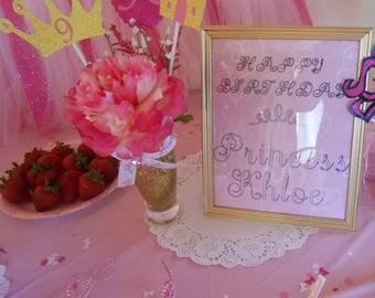 Princess Birthday Party Decoration - Custom Birthday Girl Name in 8 x 10 frame