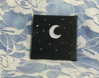 Small Painting of Crescent Moon and Stars