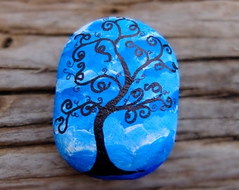 Painted Montana River Rocks by Sherrl, Whimsical Tree, black on blue background