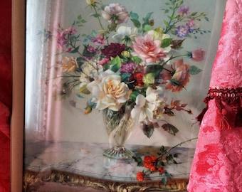 Vintage Vernon Ward Framed Print, Floral Arrangement, Kitsch Floral Print, 1950s