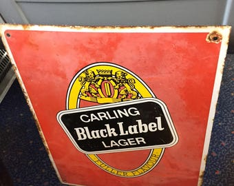 1970's Carling Black Label Beer Enamel Sign