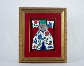Handmade Ceramics (Iznik Pottery) Caftan with vest with gold frame