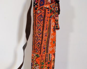 Yoga Mat Bag - One of a Kind - Handmade with antique ethnic textiles